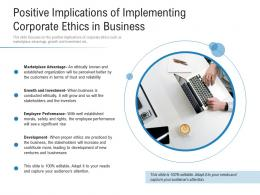 Positive Implications Of Implementing Corporate Ethics In Business