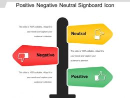 Positive Negative Neutral Signboard Icon