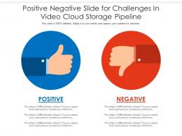 Positive Negative Slide For Challenges In Video Cloud Storage Pipeline Infographic Template