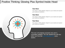 Positive Thinking Glowing Plus Symbol Inside Head