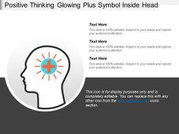 Positive Thinking Glowing Plus Symbol Inside Head