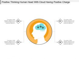 Positive Thinking Human Head With Cloud Having Positive Charge