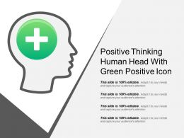 Positive Thinking Human Head With Green Positive Icon