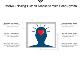 Positive Thinking Human Silhouette With Heart Symbol