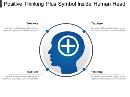 Positive Thinking Plus Symbol Inside Human Head