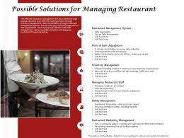 Possible Solutions For Managing Restaurant Inventory Management Ppt Presentation Ideas