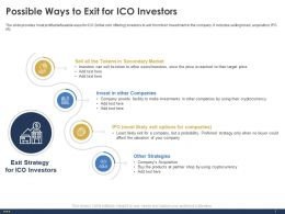 Possible Ways To Exit For ICO Investors Facility Ppt Powerpoint Infographics Guidelines