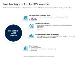 Possible Ways To Exit For ICO Investors Pitch Deck For Cryptocurrency Funding Ppt Introduction