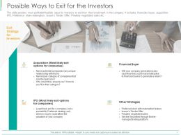 Possible Ways To Exit For The Investors Ppt Powerpoint Presentation Inspiration Microsoft