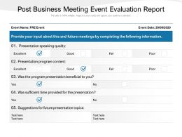 Post Business Meeting Event Evaluation Report