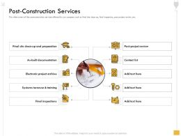 Post Construction Services Contact List Ppt Powerpoint Presentation Summary Design Templates