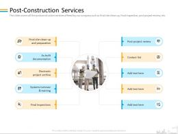Post Construction Services Preparation Ppt Powerpoint Presentation Infographics Graphics Download
