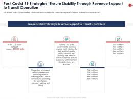 Post Covid 19 Strategies Ensure Stability Through Revenue Support To Transit Operation Ppt Powerpoint Ideas
