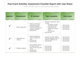 Post Event Activities Assessment Checklist Report With User Notes