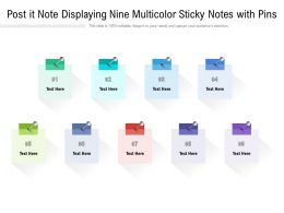Post It Note Displaying Nine Multicolor Sticky Notes With Pins