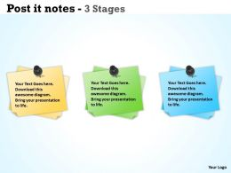 Post it notes 3 Stages ppt 16