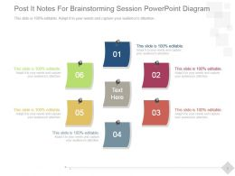 Post It Notes For Brainstorming Session Powerpoint Diagram