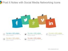 Post It Notes With Social Media Networking Icons Ppt Images