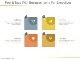 Post It Tags With Business Icons For Executives Ppt Inspiration