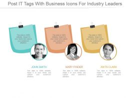 Post It Tags With Business Icons For Industry Leaders Ppt Images