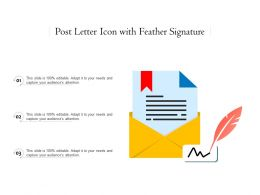 Post Letter Icon With Feather Signature