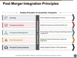 Post Merger Integration Principles Ppt Powerpoint Presentation File Ideas