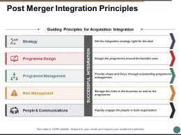 Post Merger Integration Principles Ppt Powerpoint Presentation File Ideas