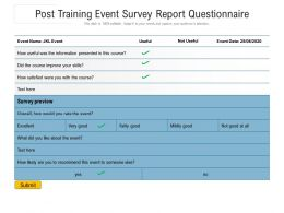 Post Training Event Survey Report Questionnaire
