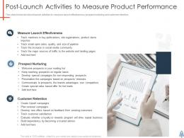 Postlaunch Activities To Measure Product Performance Product Launch Plan Ppt Summary