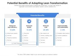 Potential Benefits Of Adapting Lean Transformation