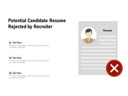 Potential Candidate Resume Rejected By Recruiter
