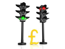 Pound Sign With Two Traffic Lights Stock Photo