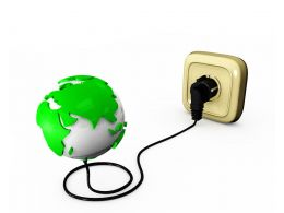 Power Connection With Plug And Globe Technology Stock Photo