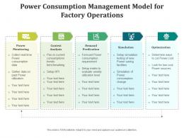 Power Consumption Management Model For Factory Operations