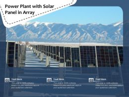 Power Plant With Solar Panel In Array