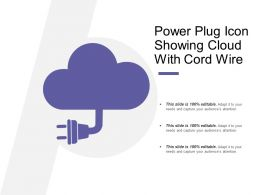 Power Plug Icon Showing Cloud With Cord Wire