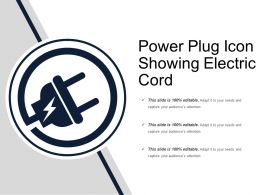 Power Plug Icon Showing Electric Cord