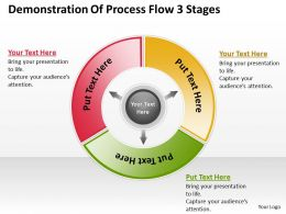 Powerpoint For Business Demonstration Of Process Flow 3 Stages Templates