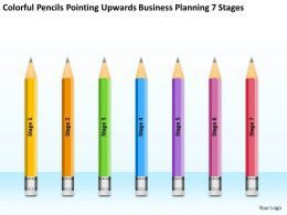 Powerpoint For Business Pencils Pointing Upwards Planning 7 Stages Slides