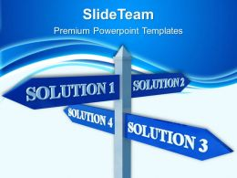 Powerpoint For Business Templates Solutions Signpost Metaphor Success Ppt Themes