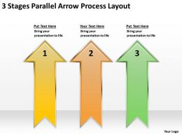Powerpoint Graphics Business 3 Stages Parallel Arrow Process Layout Templates