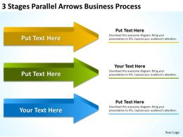 Powerpoint Graphics Business 3 Stages Parallel Arrows Process Templates