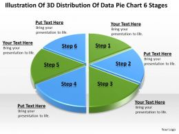 Powerpoint Graphics Business Of 3d Distribution Data Pie Chart 6 Stages Slides