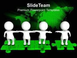 Powerpoint Puzzle Pieces Template Templates Standing Together On Puzzles Teamwork Ppt Process