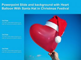 Powerpoint Slide And Background With Heart Balloon With Santa Hat In Christmas Festival