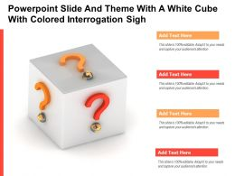 Powerpoint Slide And Theme With A White Cube With Colored Interrogation Sigh