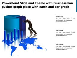 Powerpoint Slide And Theme With Businessman Pushes Graph Piece With Earth And Bar Graph