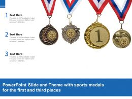 Powerpoint Slide And Theme With Sports Medals For The First And Third Places