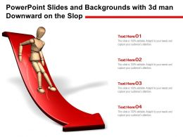 Powerpoint Slides And Backgrounds With 3d Man Downward On The Slop