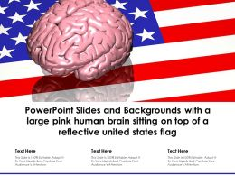 Powerpoint Slides And Backgrounds With A Large Pink Human Brain Sitting On Top Of A Reflective United States Flag